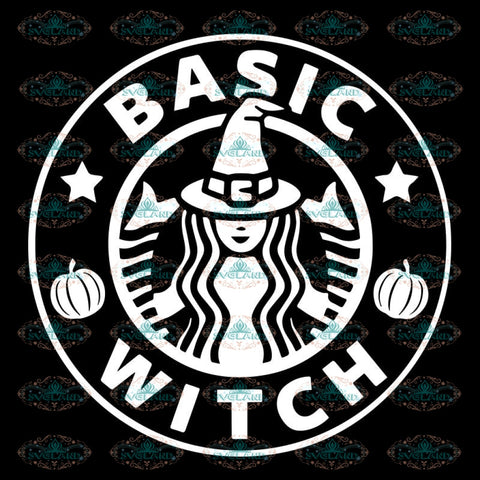 Basic Witch White, Halloween Svg, Cricut File, Silhouette Cameo, Clipart, Coffee Svg, Starbucks Svg