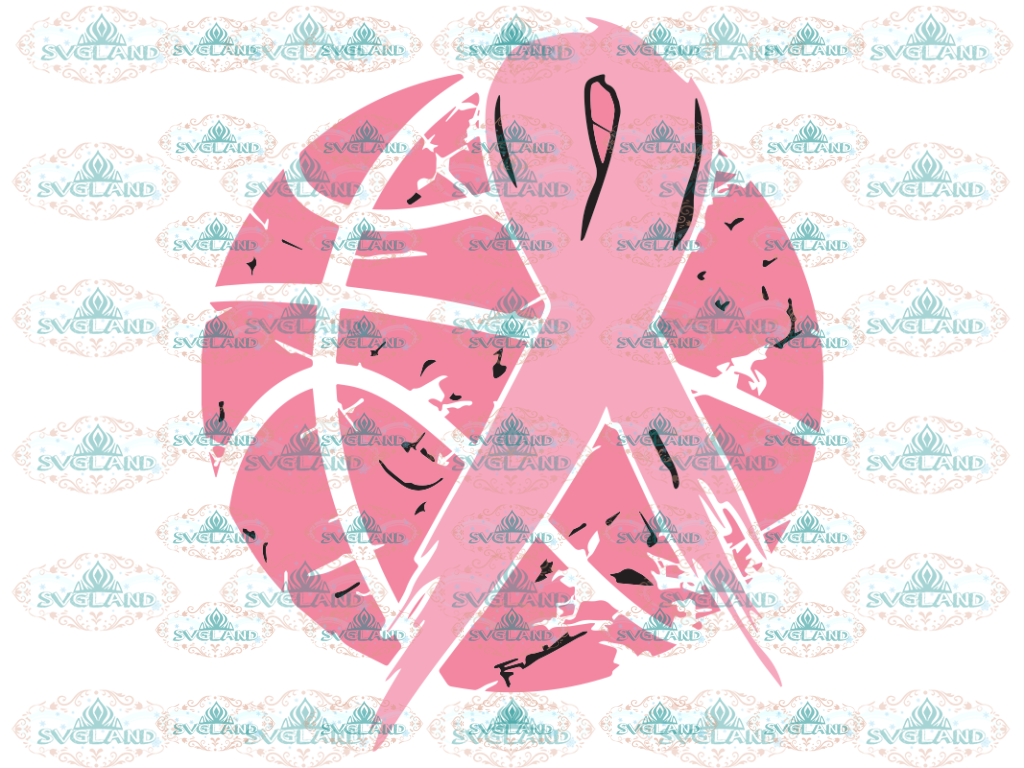 Basketball Tackle Breast Cancer Svg Awareness Ribbon Svg Play For A Cure Cancer Pink Digital