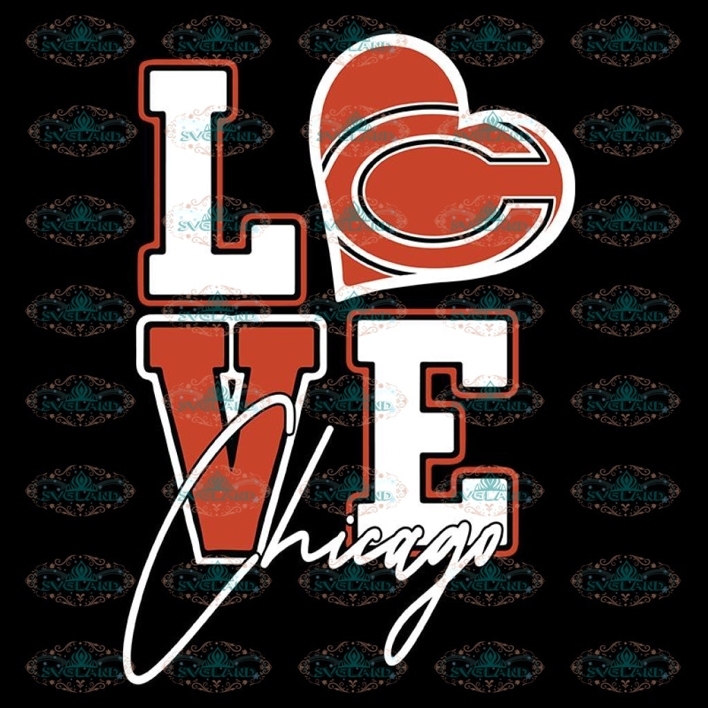 Bears Love Svg, NFL Svg, Cricut File, Clipart, Chicago Bears Svg, Football Svg, Sport Svg, Love Football Svg, Png, Eps, Dxf 2
