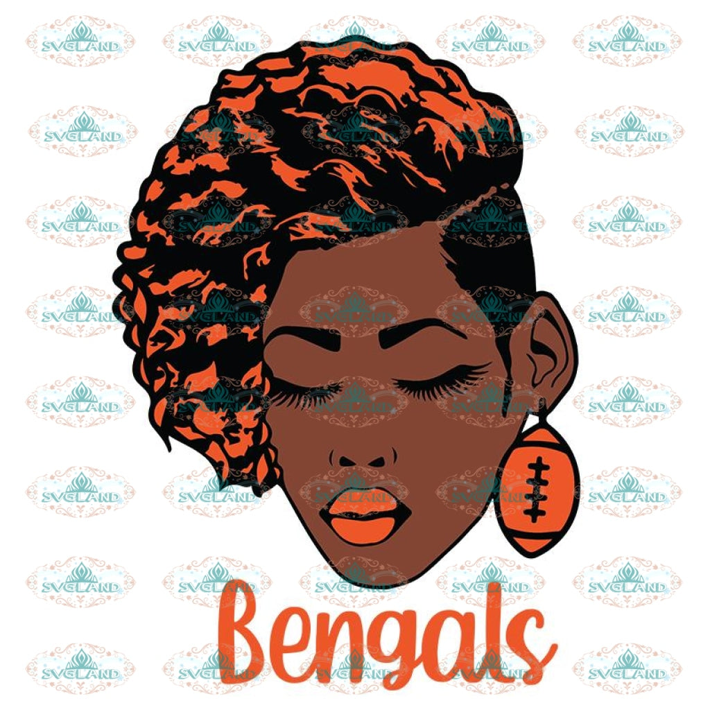 Black Woman Bengals Svg, Cincinnati Bengals Svg, NFL Svg, Cricut File, Clipart, Black Woman Svg, Sport Svg, Football Svg, Png, Eps, Dxf