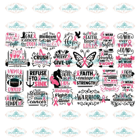 Breast Cancer Svg, Bundle, Awareness Svg, Cricut File, Cancer Svg, Pink Svg, Fighting Svg