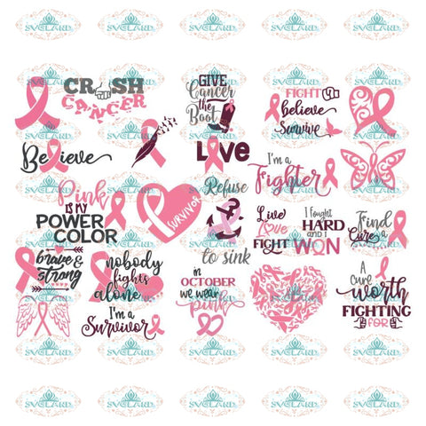 Breast Cancer Svg, Bundle, Cancer Awareness Svg, Cancer Svg, Cricut, Silhouette Cameo