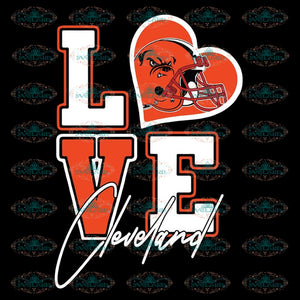 Browns Love Svg, NFL Svg, Cricut File, Clipart, Cleveland Browns Svg, Football Svg, Sport Svg, Love Football Svg, Png, Eps, Dxf 2