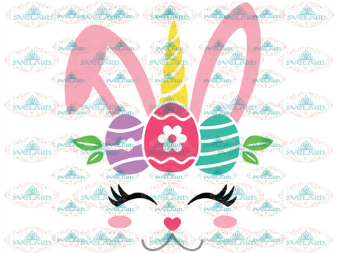 Bunny Unicorn Svg Easter Face Dxf Png Girl Clipart Happy Digital