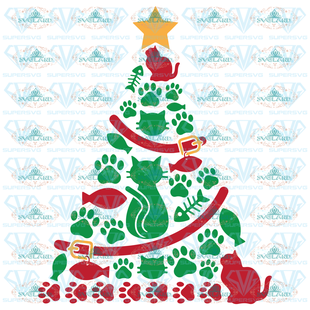 Cat Christmas Tree Svg And Cut Files For Crafters Digital