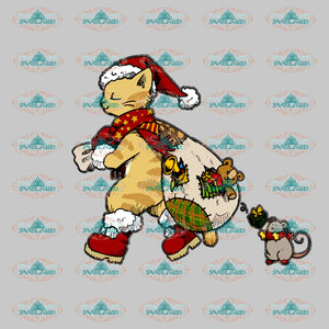 Cat Santa Christmas Gift Merry Outfit Png Digital