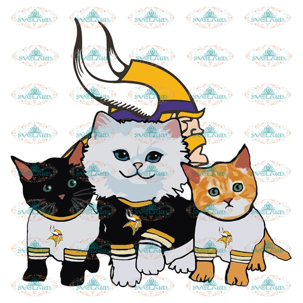 Cats Minnesota Vikings Svg, Cricut File, Clipart, NFL Svg, Football Svg, Sport Svg, Love Football Svg, Cute Cats Svg, Png, Eps, Dxf