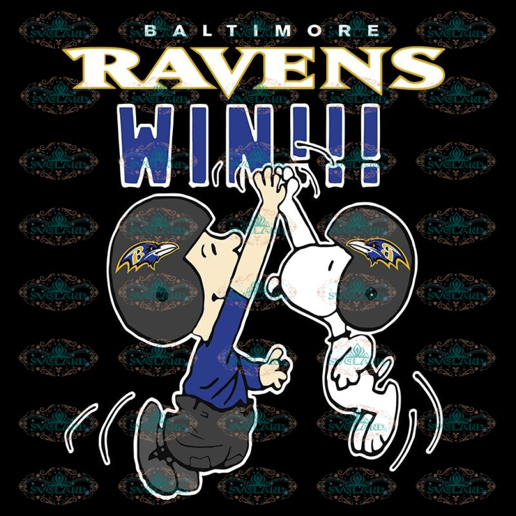 Charlie Snoopy High Five Baltimore Ravens Win NFL Svg, Baltimore Ravens Svg, Snoopy Ravens Svg, NFL Svg, Sport Svg, Football Svg, Cricut File, Clipart