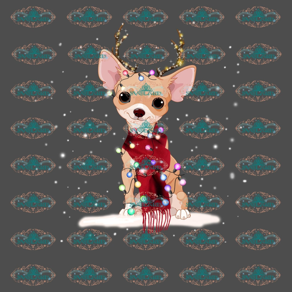 Chihuahua Reindeer Christmas Lights Xmas Christmas Gift Merry Png Digital