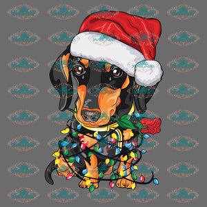 Christmas Dog Lights Winter Gift Outfit Png Digital