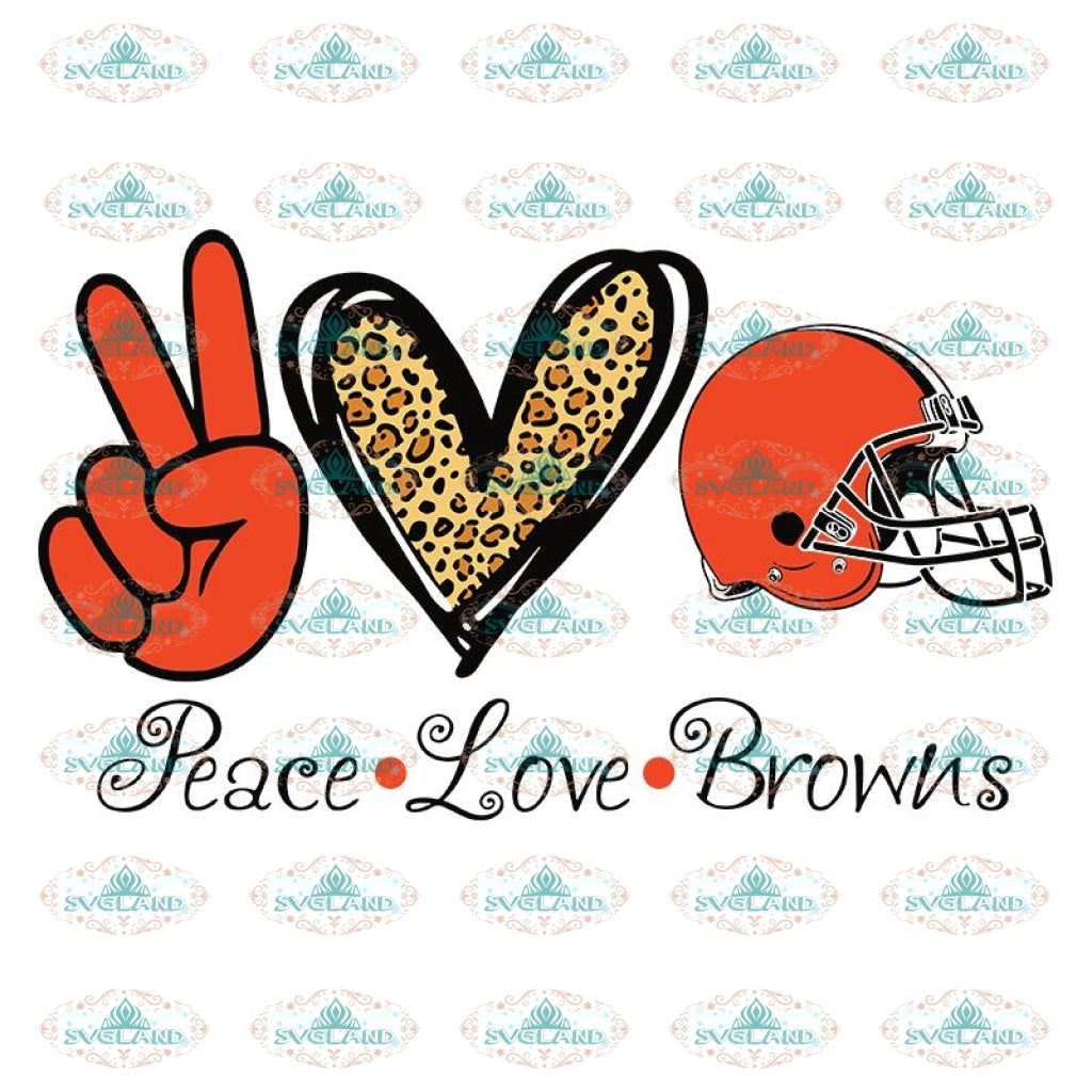 Cleveland Browns Heart Svg, Peace Love Browns Cricut File, Clipart, Football Svg, NFL Svg, Sport Svg, Love Football Svg
