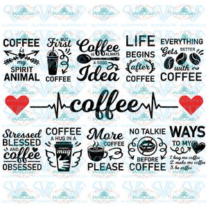 Coffee Svg Bundle Funny Quotes Svg Coffee Lover Cup Mom Life But First Momlife Fuel Digital
