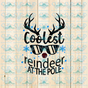 Coolest Reindeer At The Pole Christmas Svg Funny Rudolph Digital