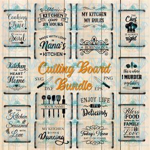 Cutting Board Svg Bundle Apron Dish Towel Kitchen Files Pot Holder Cooking Digital