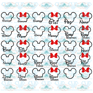 Disney Family Bundle Svg Mickey Minnie Mouse Outline With Saying Mom Dad Sister Brother Grandma