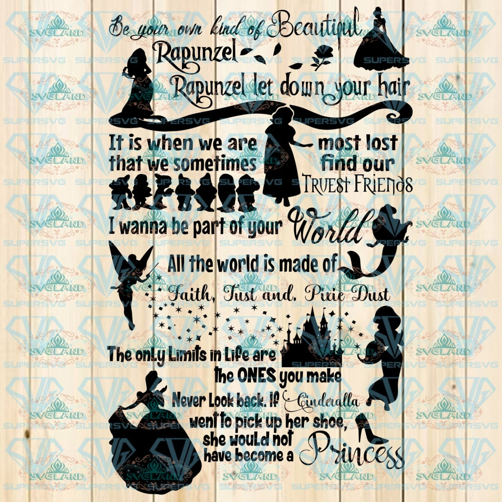 Disney Princesses Svg Svg Disneyland Princesses Digital