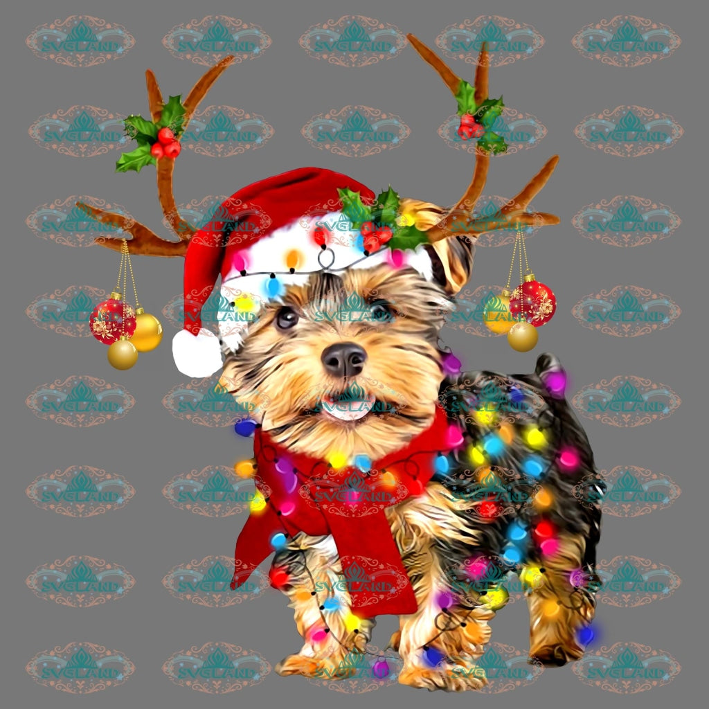 Dog Christmas Lights Reindeer Santa Hat Png Digital