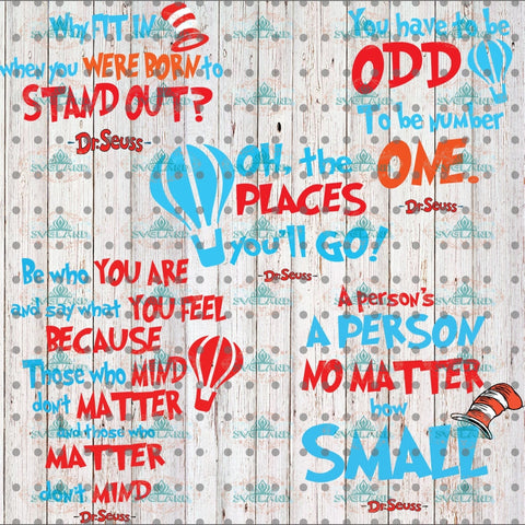 Dr Seuss Svg Bundle Gift Birthday Print Poster Thing One Two 1 2 Digital