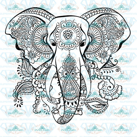 Ethnic Elephant Svg Mandala Head Zentangle Svg Digital