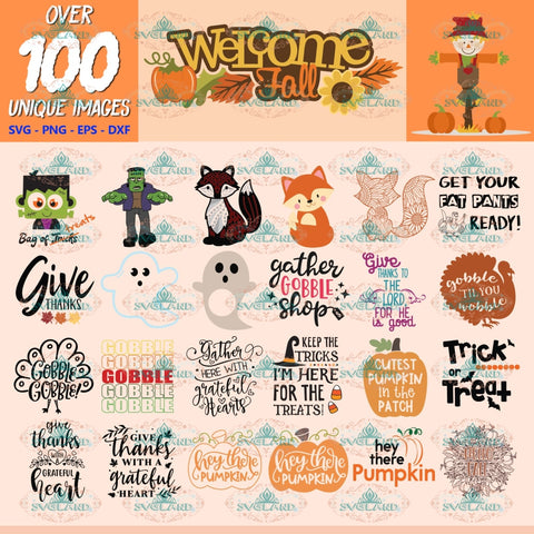 Fall Autumn Clipart, Bundle, Thanksgiving Svg, Halloween Svg, Cut Files Pumpkin, Clipart, Silhouette 2