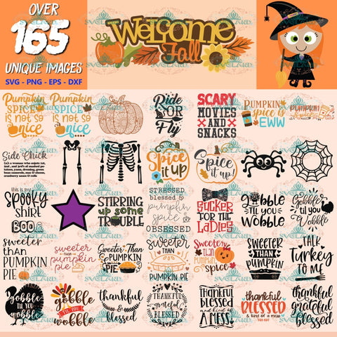Fall Autumn Clipart, Bundle, Thanksgiving Svg, Halloween Svg, Cut Files Pumpkin, Clipart, Silhouette 3