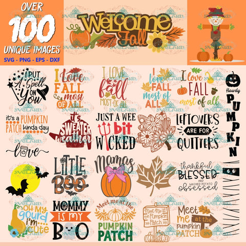 Fall Autumn Clipart, Bundle, Thanksgiving Svg, Halloween Svg, Cut Files Pumpkin, Clipart, Silhouette