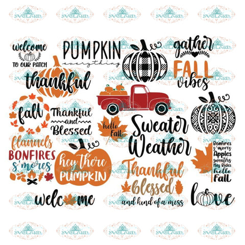 Fall Svg, Bundle, Fall Svg, Autumn Svg, Thanksgiving Svg, Cricut, Silhouette, Pumpkin Svg