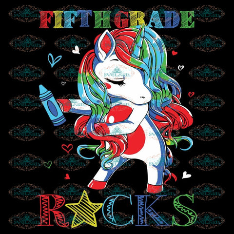 Fifth Grade Rocks Unicorn Floss Like A Boss Svg, Back To School Svg, Unicorn Svg, Flossing Svg, Cricut File