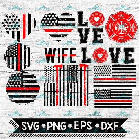 Fire Department Red Line Bundle SVG, Firefighter Flag Svg, Firefighter SVG Cut table Design, Love Svg