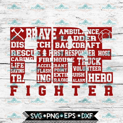 Firefighter Svg, Cricut File, Firefighter Word Art, Svg