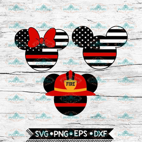 Firefighter Svg, Mickey Fire Dept Svg, Red Line Flag, Son Daughter of Fireman, Bundle, Cricut File, Svg