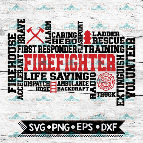 Firefighter Svg, Firefighter Word Art, Cricut File, Svg