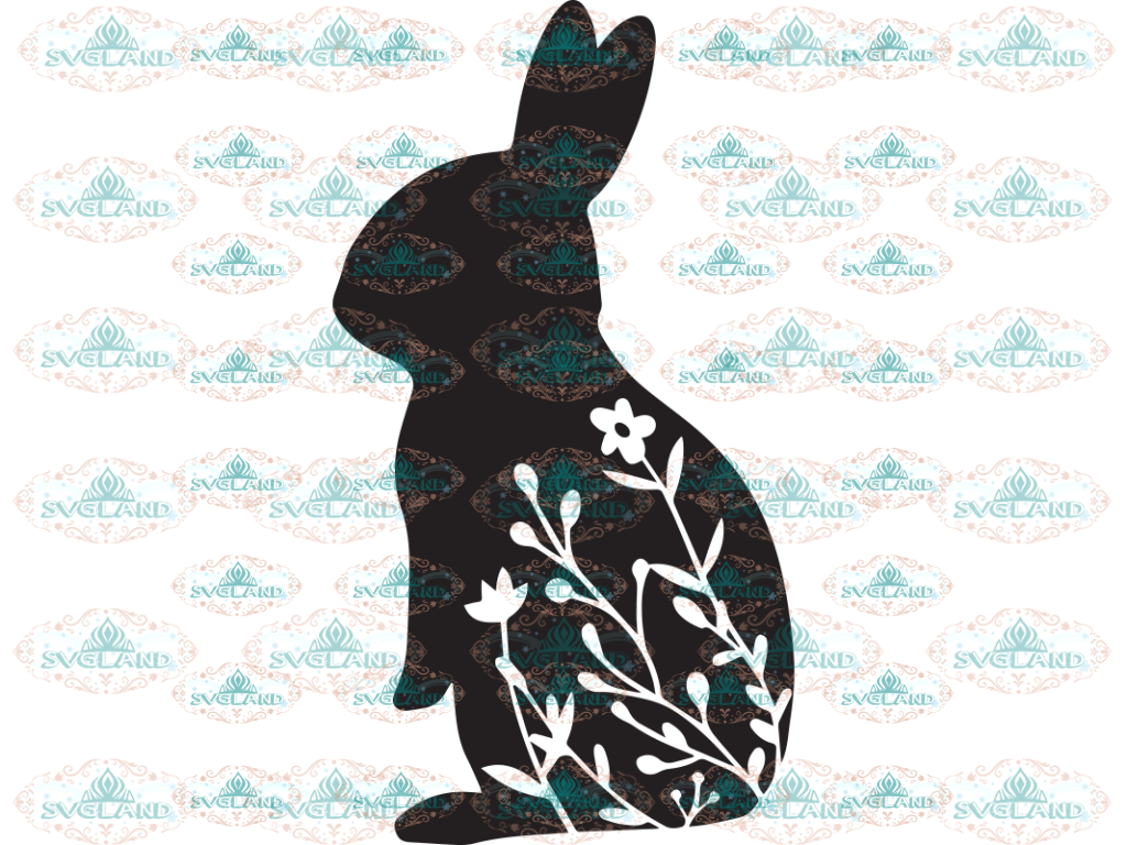 Floral Rabbit Svg Bunny Spring Svg Easter Bunny Clipart Rabbit Digital