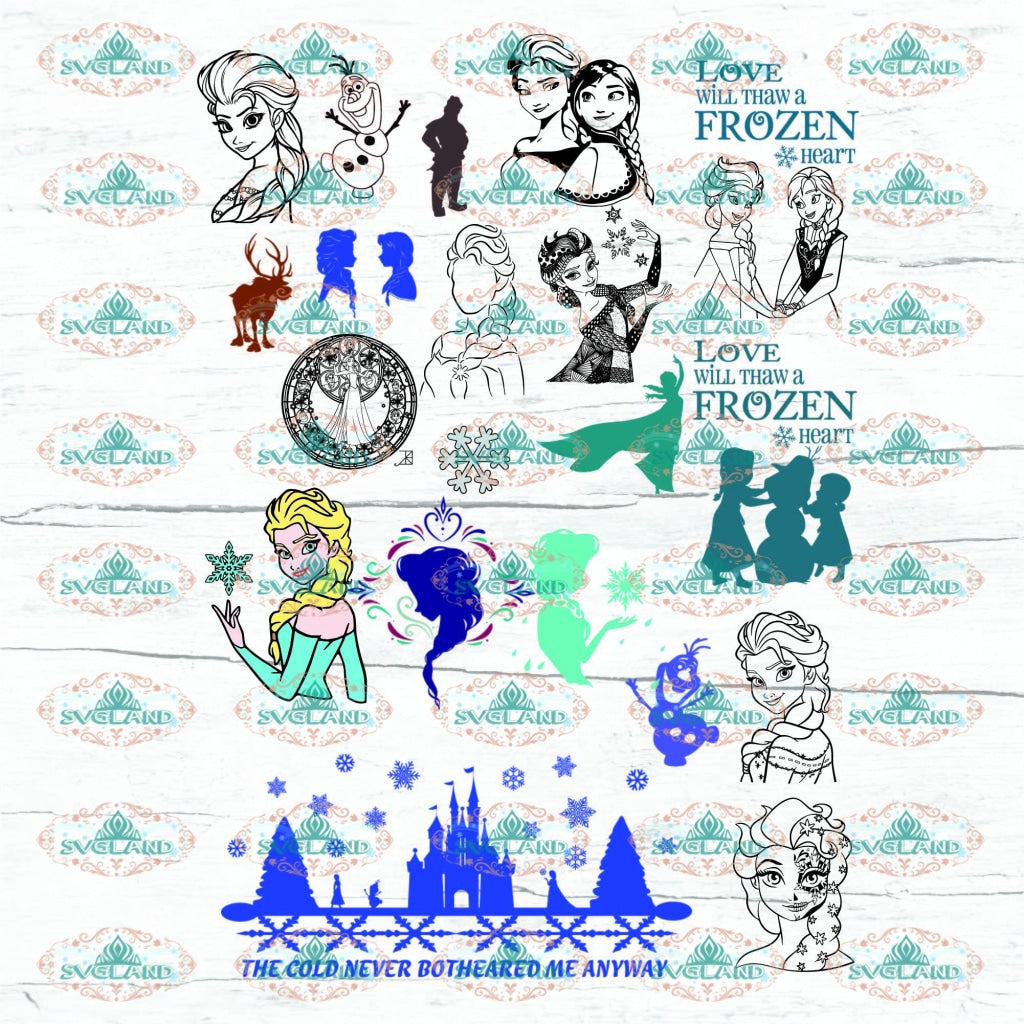 Frozen Bundle File Character Elsa Anna Princess Winter Disney Disneyland Svg Digital