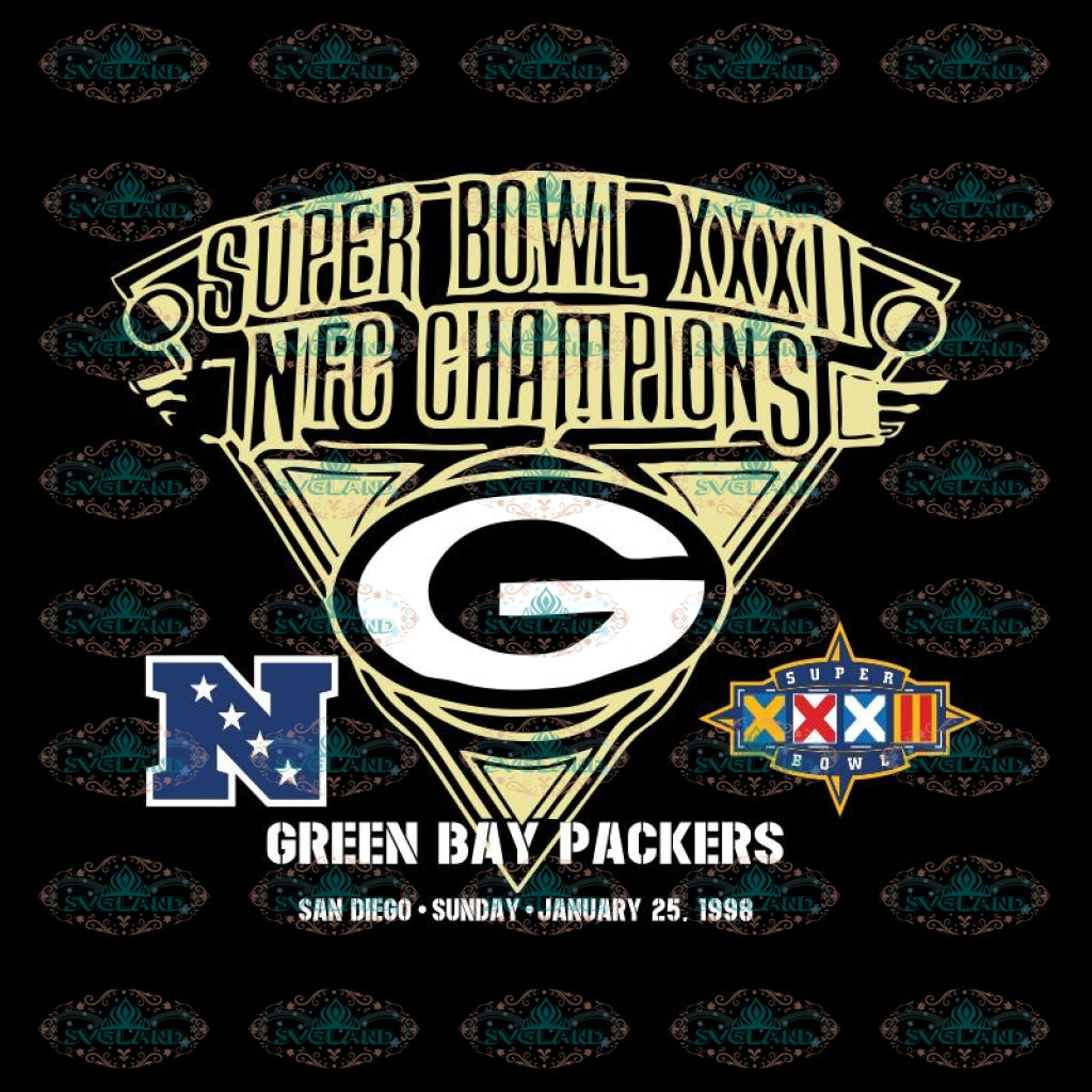 Green Bay Packers Cut File, Super Bowl XXXII , Cricut Silhouette, Clipart, NFL Svg, Football Svg, Sport Svg