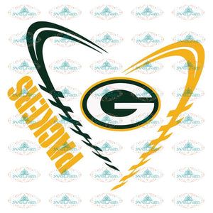 Green Bay Packers Svg, Cricut File, Clipart, NFL Svg, Football Svg, Sport Svg, Love Football Svg, Heart Football Svg, Png, Eps, Dxf