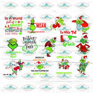 Grinch Svg Bundle File Dr Seuss Christmas Reindeer Gift Grinch Logo Digital