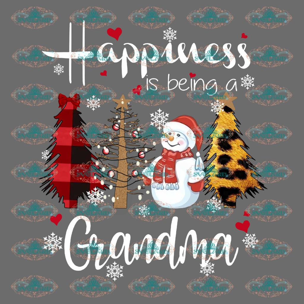 Happiness Is Being Grandma Gift Holidays Winter Christmas Merry Outfit Ornament Png Digital