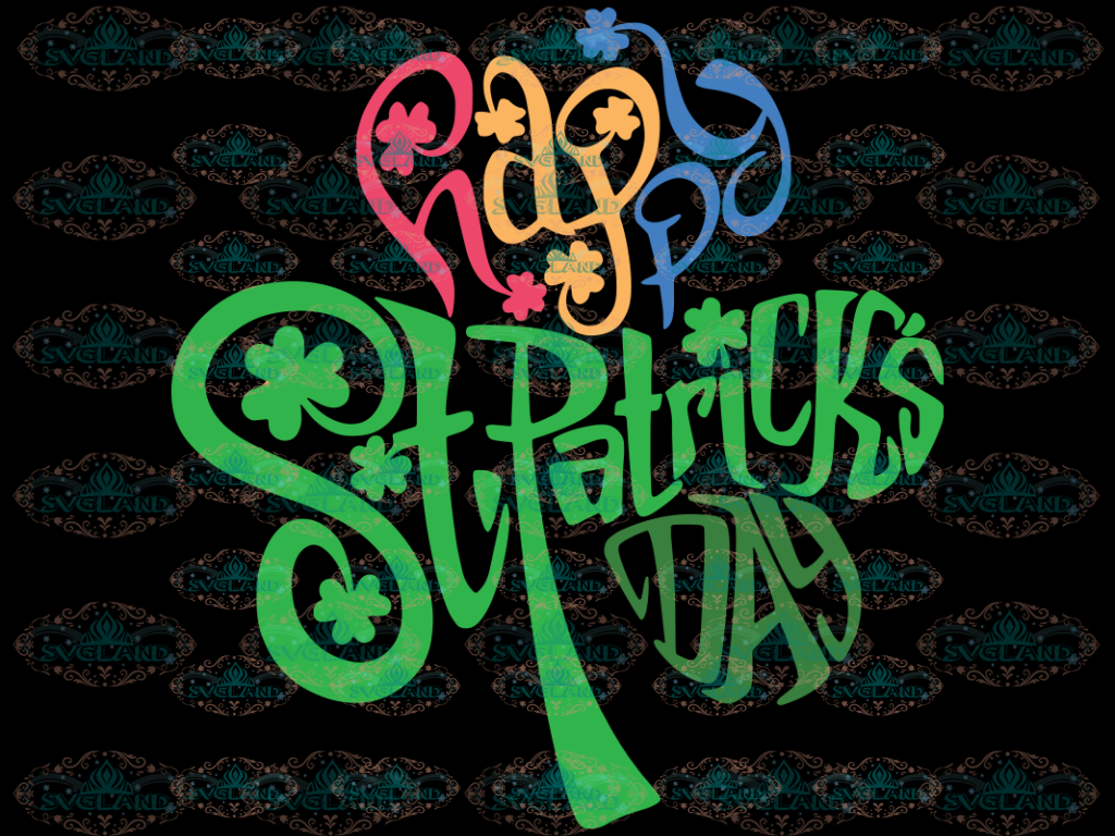 Happy St. Patricks Day Svg Cut Files Vector Printable Patrick Svg Clipart T-Shirt Digital