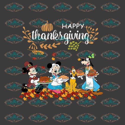 Happy Thanksgiving Day Mickey Minnie Gift Png Digital