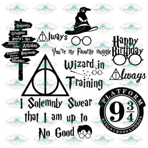 Harry Potter Bundle SVG Files For Silhouette, Files For Cricut, SVG, DXF, EPS, PNG Instant Download1