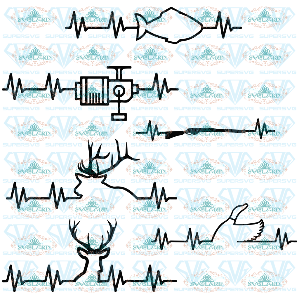 Hunting And Fishing Heartbeats Svg Cut Files For Crafters Reindeer Svg Heartbeat Digital