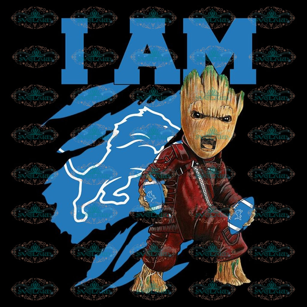 I Am Groot PNG Detroit Lions PNG, NFL PNG, Football PNG, Football Mom PNG, Printable 300 DPI
