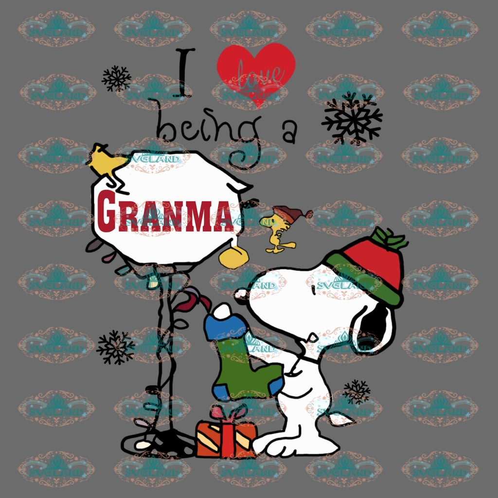I Love Being A Grandma Snoopy Png Clipart Design Christmas Svg Decor Gift Merry Outfit Ornament