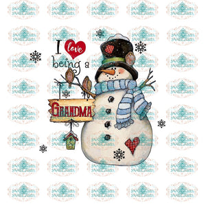 I Love Being A Grandma Snow Png Snowman Gift For Christmas Decor Merry Outfit Ornament Png Digital