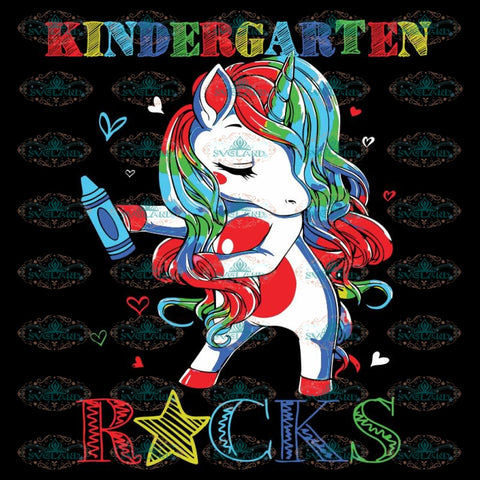 Kindergarten Rocks Unicorn Floss Like A Boss Svg, Back To School Svg, Unicorn Svg, Flossing Svg, Cricut File
