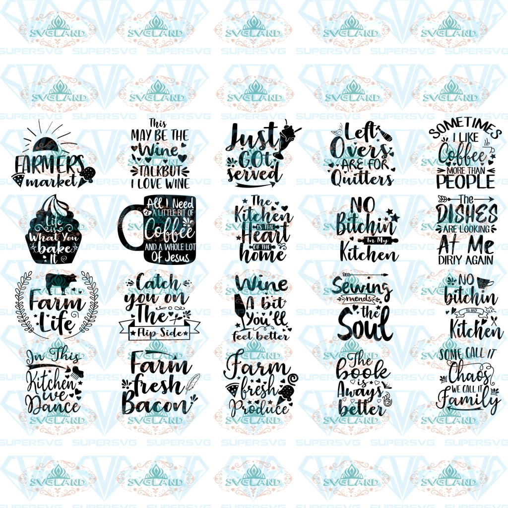 Kitchen Svg Bundle Kitchen Towel Funny Quote Wine Utensils Chef Cooking Song Eps Dxf Files Digital