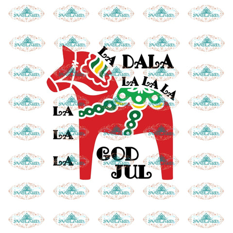 La Dala God Jul Horse Svg Red Christmas Decor Gift Merry Outfit Ornament Digital