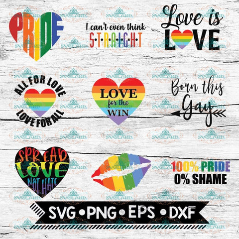 LGBT SVG Bundle, Pride SVG Bundle, Gay Pride Svg, Rainbow Heart Svg, Svg Files for Cricut, Silhouette Files, Straight
