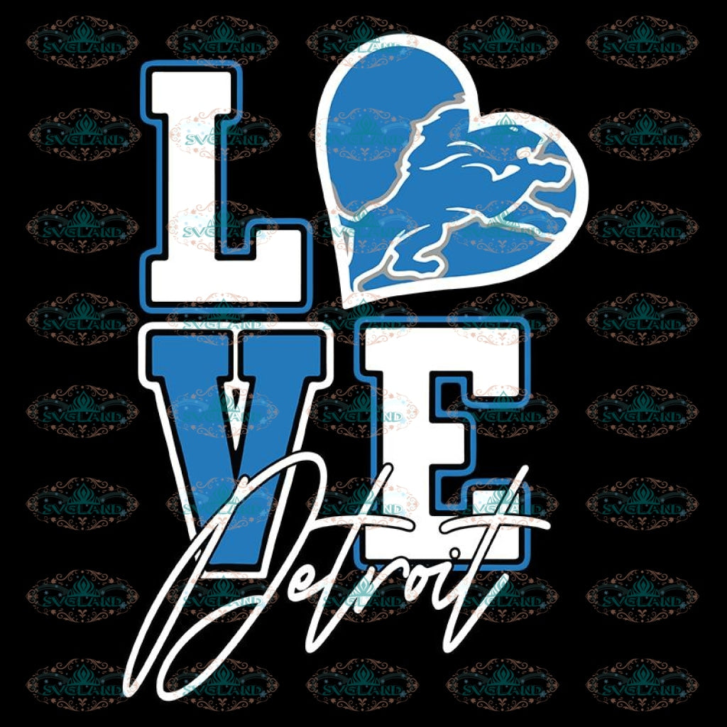 Lions Love Svg, NFL Svg, Cricut File, Clipart, Detroit Lions Svg, Football Svg, Sport Svg, Love Football Svg, Png, Eps, Dxf 2